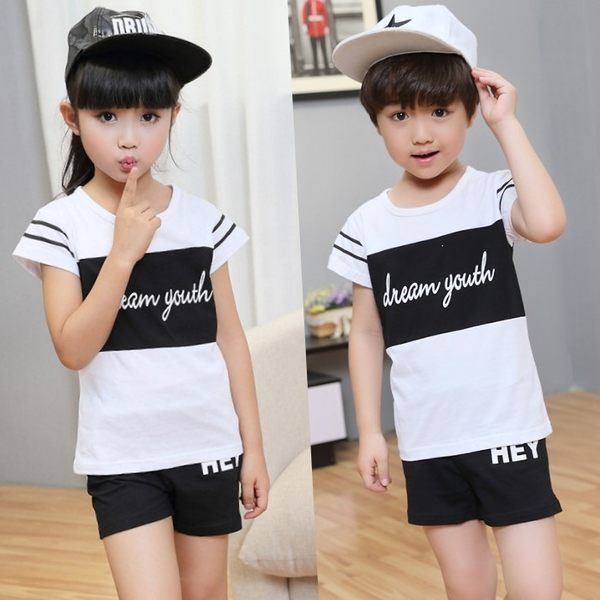 ★韓版MC-S643W★《黑白字母款-白衣》短袖親子裝♥情侶裝