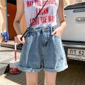 秋季韓版新款女加肥加大牛仔胖mm短褲cec休閒高腰顯瘦寬鬆A字熱褲