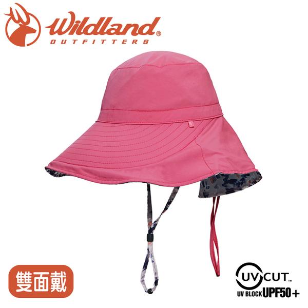 【Wildland 荒野 女 抗UV印花雙面優雅遮陽帽《桃紅》】W1065/防曬帽/圓盤帽/漁夫帽/淑女帽/園藝/登山