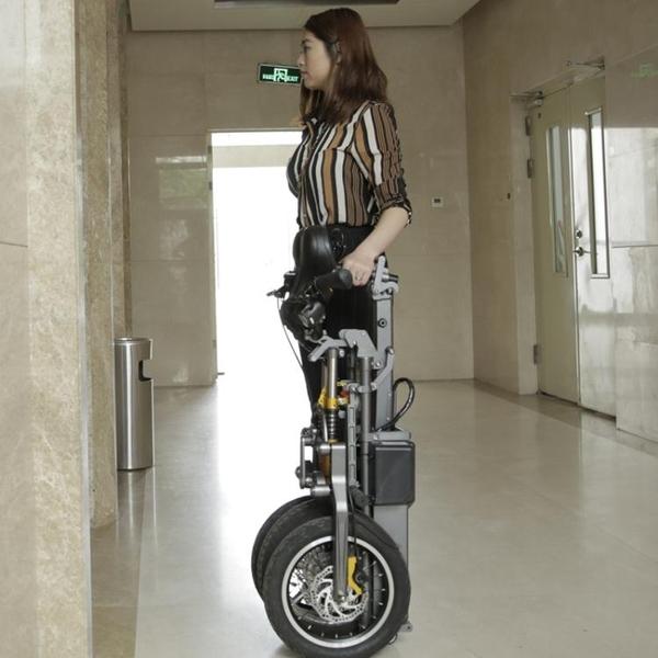 電動車簡行倒三輪電動代步車摺疊式接送小孩便捷可拉行親子電瓶自行車 新年禮物