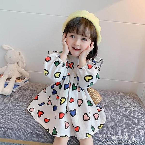 女童洋裝 女童連衣裙年小童新款初秋季兒童洋氣公主裙寶寶秋裝長袖裙子 快速出貨