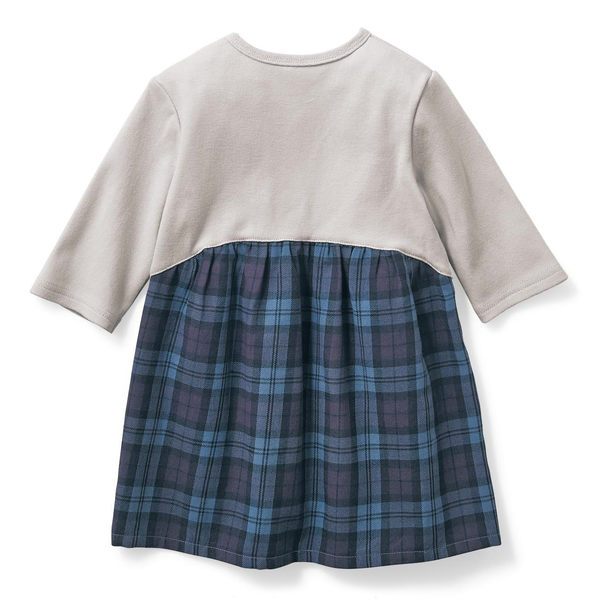 Japan Imports  長袖休閒洋裝 - 藍紫格紋 874-57905