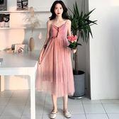 洋裝連身裙-夏秋季女裝新款氣質優雅木耳邊飄逸大擺網紗拼接一字領吊帶連身裙潮Y25767