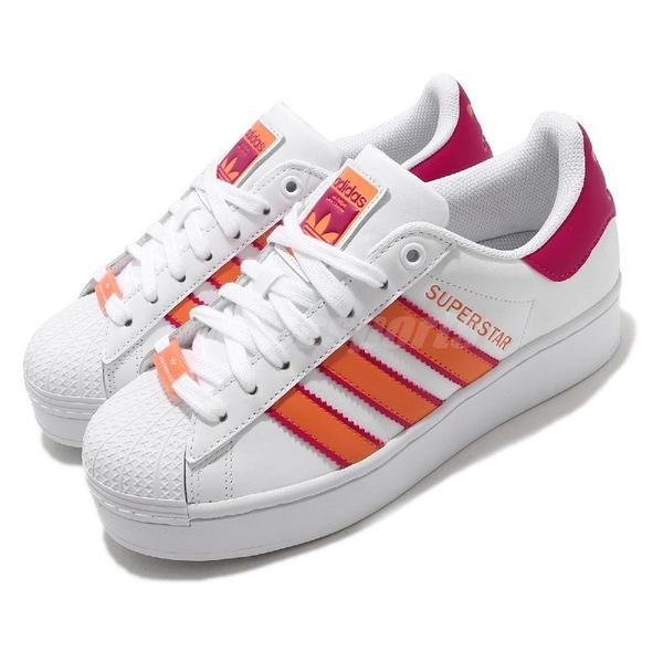 adidas 休閒鞋 Superstar Bold W 白 粉紅 橘 女鞋 厚底 增高 小白鞋 【ACS】 H69045