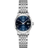 LONGINES浪琴 Record 開創者天文台認證矽游絲機械女錶-藍x銀/30mm L23214966