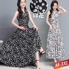 雪紡削肩連衣裙雛菊小碎(2色) M-3XL【175272W】【現+預】-流行前線-