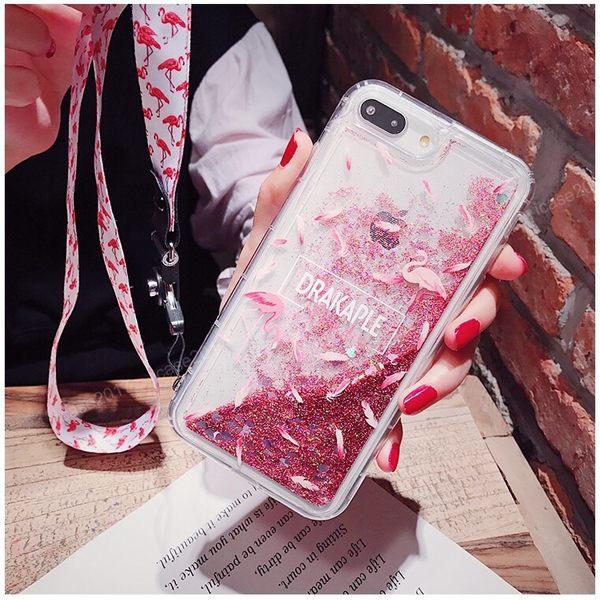 紅鶴流沙殼 三星 Note10 Note10+ Note9 Note8 透明手機殼 卡通手機套 粉色火焰鳥 全包邊軟殼 防摔殼