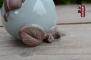 茶寵 紫砂 青瓷茶具擺件 猴壽桃把玩 哥窯精品