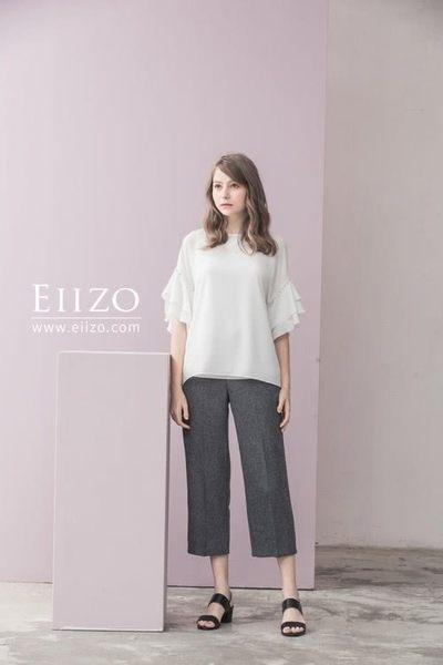 【EIIZO】俐落剪裁挺版後鬆緊直筒九分褲(灰)