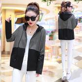 【GZ2A1】連帽條紋短外套女春季新款寬鬆長袖夾克bf休閒棒球服