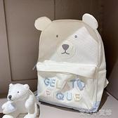 側背包遇見鹿 可愛少女卡通熊熊刺繡帆布包旅行雙肩背包高中初中書包潮 育心館