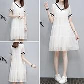 雪紡洋裝 歐洲站2021夏新款顯瘦遮肚子中長款文藝初戀裙超仙雪紡白色連身裙 甜美
