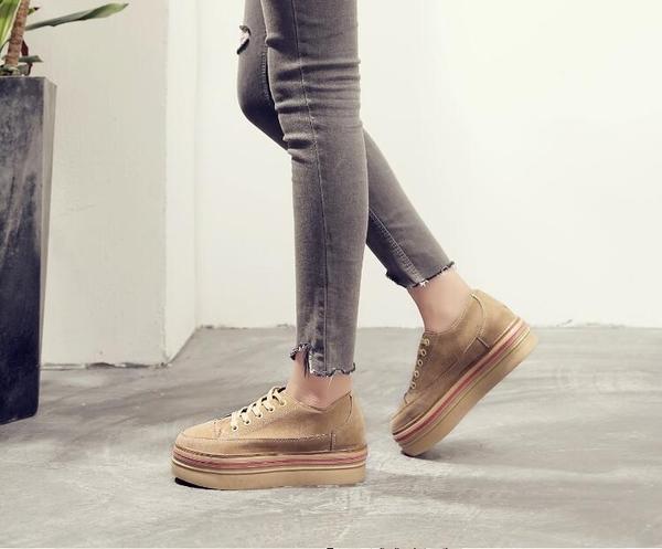 女內增高鞋 復古隱形內增高休閒鞋