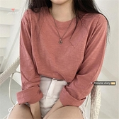基礎款純色長袖竹節棉T恤2020新款秋季女正韓寬鬆ins打底衫上衣潮  店慶降價