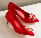 婚鞋女紅色高跟鞋細跟新款性感