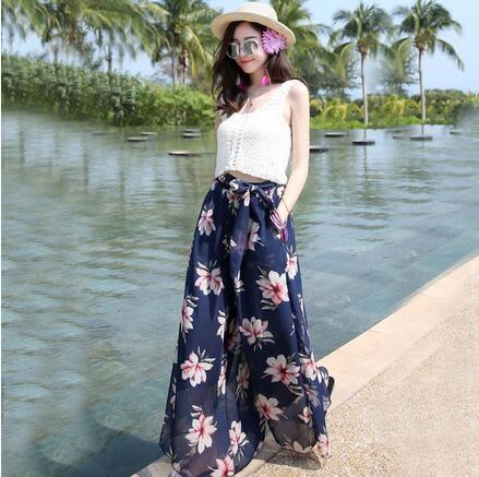 【AU008】寬褲 沙灘褲 夏季大碼顯瘦寬鬆波西米亞雪紡腰帶闊腿褲C160