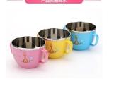兒童碗 防摔燙304不銹鋼大容量湯碗卡通可愛餐具家用飯碗雙耳手柄