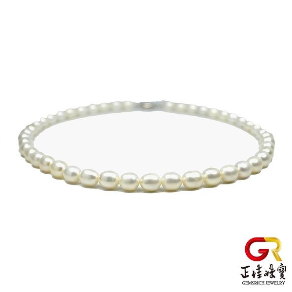 天然淡水珍珠項鍊 頂級米珠高光潤澤珍珠項鍊 8x9mm珍珠 頂級項鍊 925銀扣電鍍白K 正佳珠寶