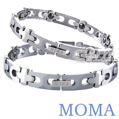 【MOMA】鎢鋼鍺磁手鍊十字-M85對鍊-情人對鍊