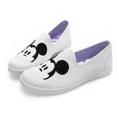 Disney 可愛米奇大頭 帆布懶人鞋-白(DW5126白)