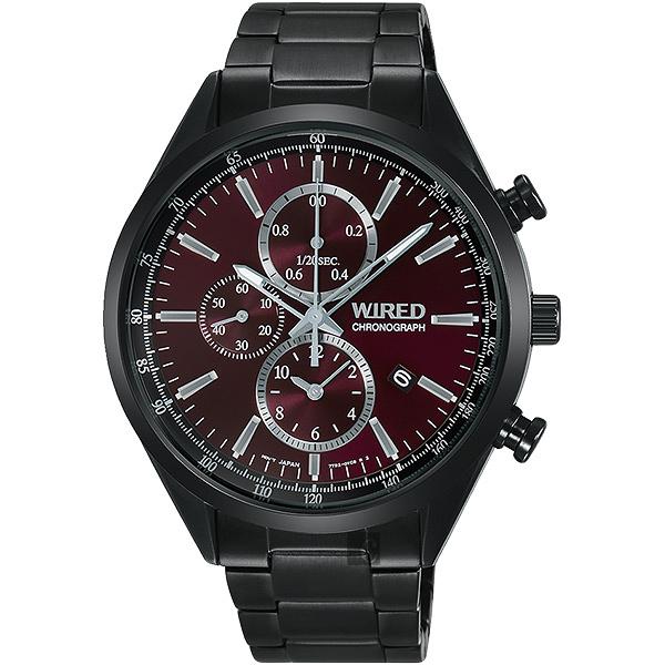 WIRED 關鍵時刻三眼計時手錶-暗紅x鍍黑/41mm 7T92-0SM0R(AY8017X1)
