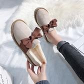 毛毛鞋 毛毛鞋女秋冬外穿新款厚底豆豆鞋一腳蹬雪地靴加絨家居棉鞋-Ballet朵朵