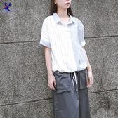 【春夏新品】American Bluedeer - 雙色條紋拚接短袖襯衫 二色 春夏新款