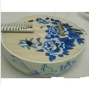 青花瓷中阮舞臺表演紅木送琴盒【藍星居家】