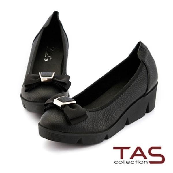 TAS 雙層蝴蝶結荔枝牛皮楔型娃娃鞋-百搭黑