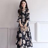 FINDSENSE G5 韓國時尚 高腰 繫帶 修身 顯瘦 花色 中長款 連身裙 女裙