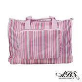 ABS愛貝斯 日本防水摺疊旅行袋 可加掛上拉桿(粉系條紋)66-001D5