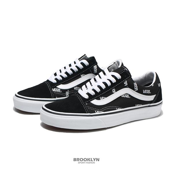 VANS 休閒鞋 OLD SKOOL 黑 白滿版字 滑板鞋 男女 (布魯克林) VN0A3WKTQW7