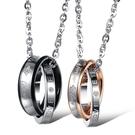 鈦鋼項鍊鑲鑽(一對)-愛戀環環相扣生日情人節禮物情侶對鍊2色73cl7【時尚巴黎】