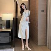 短袖洋裝 夏季法式復古方領泡泡袖高腰顯瘦開叉短袖中長連身裙女-Ballet朵朵