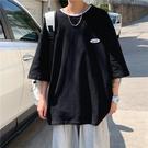 春夏短T桖7分袖T恤男寬松短袖oversize上衣ins潮網紅小眾情侶裝港風半袖