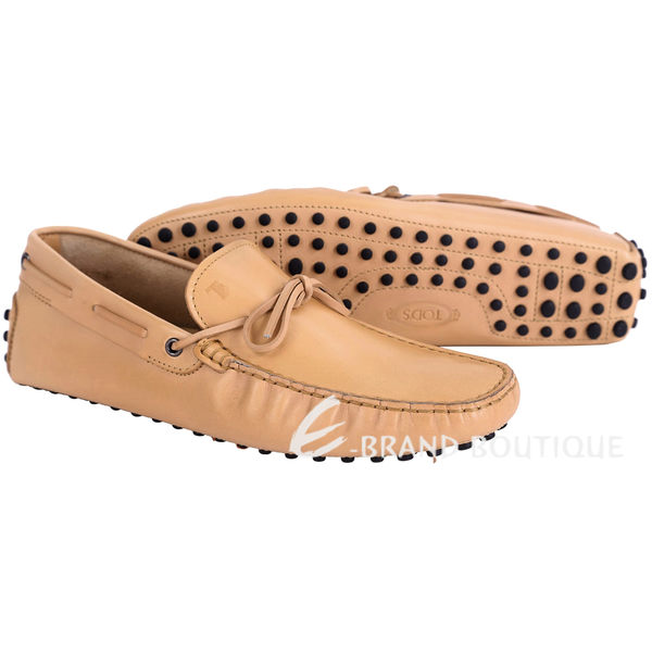 TOD'S Gommino Driving 牛皮綁帶豆豆休閒鞋(男鞋/駝色) 1620712-02