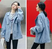 中長款牛仔外套女寬鬆學生韓版簡約顯瘦長袖牛仔衣