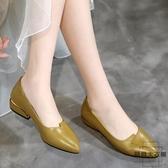 平底鞋女皮鞋女淺口單鞋中年大碼粗跟豆豆鞋【時尚大衣櫥】
