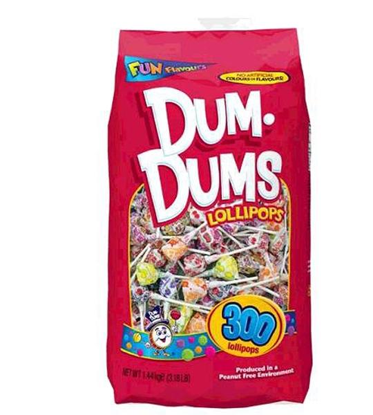[COSCO代購] W127998 Dum Dums 綜合口味立袋棒棒糖 300入 / 1.44公斤 2入