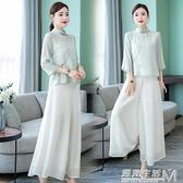 新款中國風女裝復古盤扣雪紡上衣闊腿褲女茶服禪意套裝