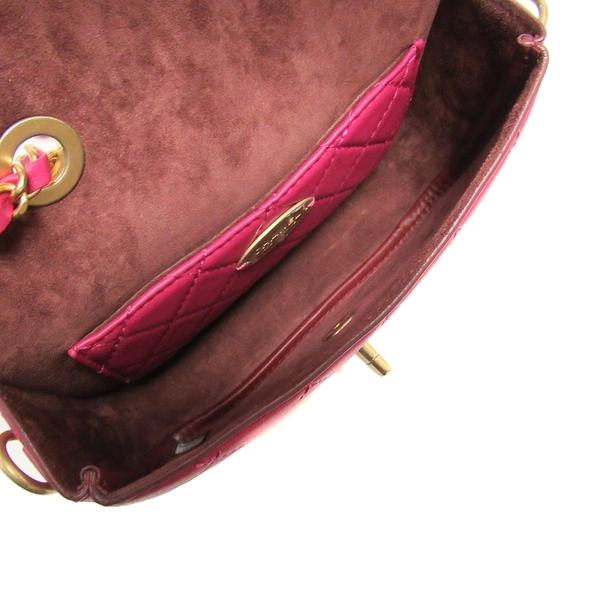 CHANEL 香奈兒 紫紅色小牛皮金釦肩背包及零錢包 Flap Bag Coin Purse【BRAND OFF】