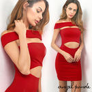 天使波堤【LC0231】一字領鏤空露肚包腎連身裙洋裝輕盈曲線短裙-喜氣派對宴會紅色連衣裙