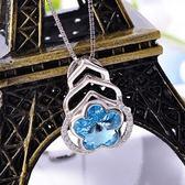 水晶項鍊 925純銀吊墜-氣質花朵生日情人節禮物女飾品73fx14[時尚巴黎]