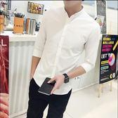 7分襯衣純白色休閒中袖休閒中袖