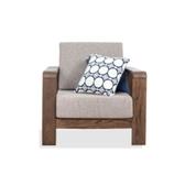 原木日式半島紅橡木實木寬扶手可拆洗單人布沙發s0489-咖色坐墊