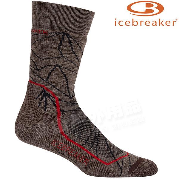 Icebreaker 103712-201紡褐 男中筒中毛圈健行襪Hike 美麗諾羊毛襪