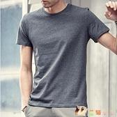 2020夏季體恤男 圓領純色灰色短袖半袖 修身打底衫休閒T恤 HX4141【花貓女王】