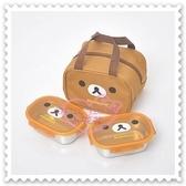 ♥小花花日本精品♥Hello Kitty 拉拉熊Rilakkuma不鏽鋼2入便當盒附手提收納袋保溫保冷便當盒(預購)