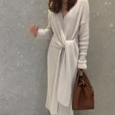 梨卡 - 長袖毛衣長版寬鬆優雅百搭V領交叉綁帶顯瘦長款過膝打底針織連衣裙連身裙 BR603