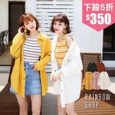率性水洗銅釦襯衫外套-G-Rainbow【A08155】